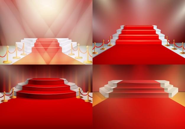 Reeks rode tapijten onder de verlichting bij de prijsuitreiking, vectorillustratie