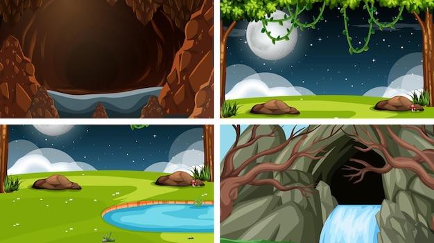 Reeks scènes in de natuur
