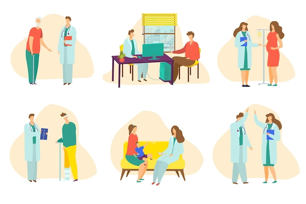 Reeks scènes met doktersgesprek met cartoonpatiënt in kliniek