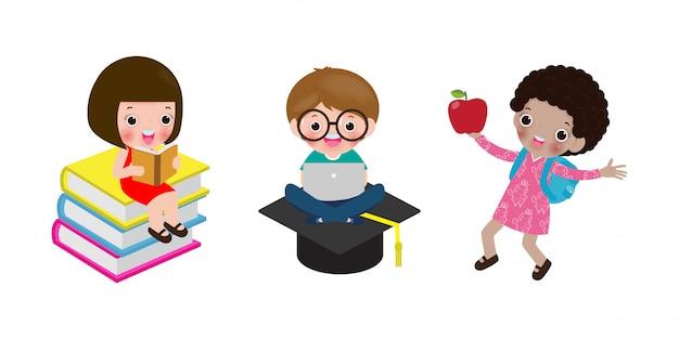 Reeks schoolkinderen in onderwijsconcept, terug naar schoolmalplaatje met kinderen, gaat het kind naar school, terug naar school, vectorillustratie.