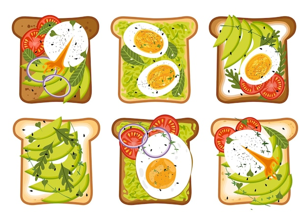 Reeks smakelijke vegetarische avocadotoost vectorillustratie gezond ontbijt met avocadosandwich