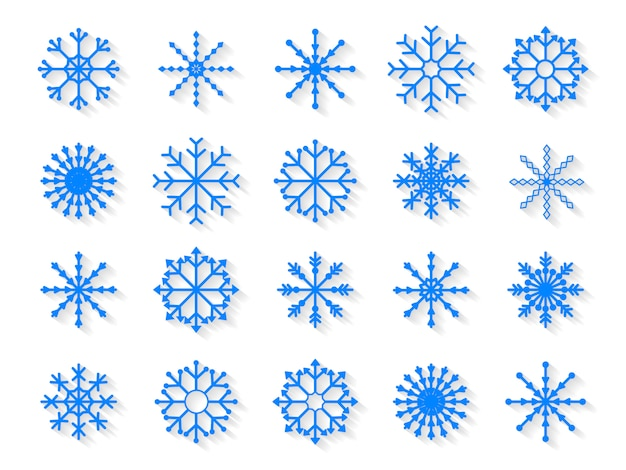 Reeks sneeuwvlokken op witte achtergrond wordt geïsoleerd die