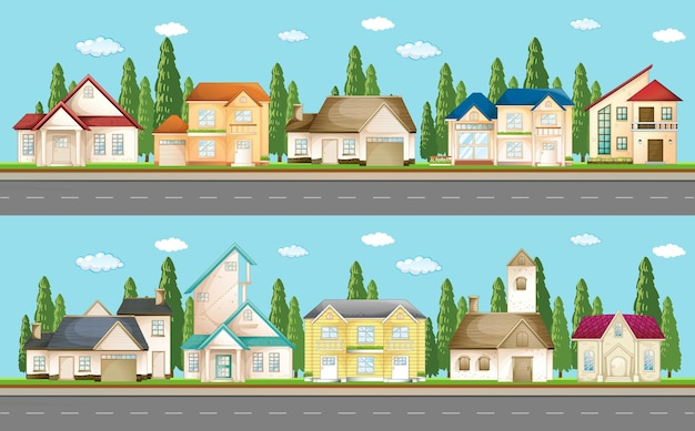 Reeks stedelijke huizen langs de straat