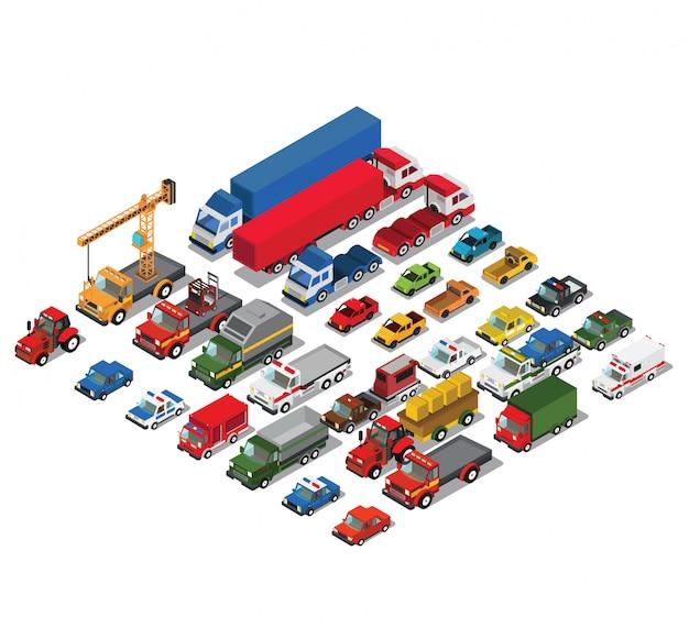 Reeks stedelijke openbare en vrachtvervoerauto's