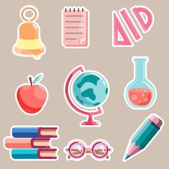 Reeks stickers van het themakictogram van de school die op witte achtergrond wordt geïsoleerd