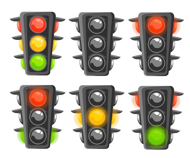 Reeks stoplichtreeks. verticale verkeerslichten met rode, gele en groene lichten. . illustratie op witte achtergrond