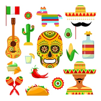 Reeks traditionele mexicaanse attributen op wit