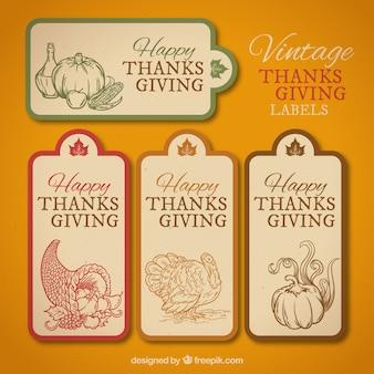 Reeks uitstekende dankzegging labels