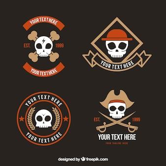 Reeks uitstekende logo's met schedels