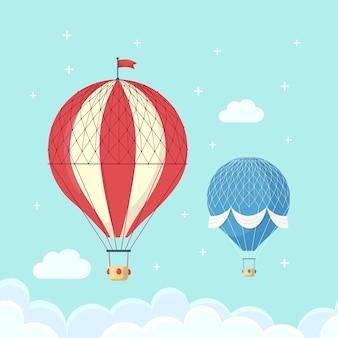 Reeks uitstekende retro hete luchtballon met mand in hemel die op achtergrond wordt geïsoleerd.