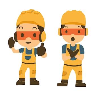 Reeks van bouw workerin verschillende acties met teken.