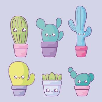 Reeks van cactus tropisch in kawaiistijl van de potteninstallatie
