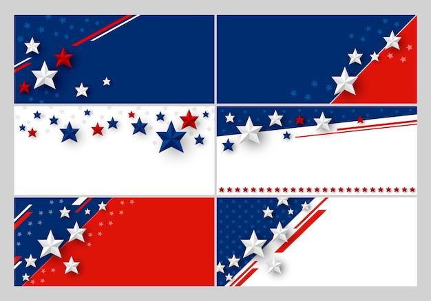 Reeks van de banner abstracte achtergrond van de vs van amerikaanse vlag met exemplaarruimte