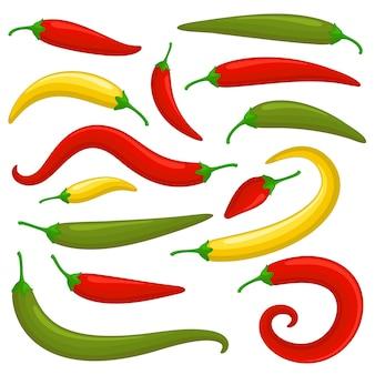 Reeks van de close-up de rode groene en gele kille peper