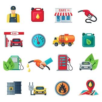 Reeks van de kleurenpictogrammen van de benzinepost de vlakke van de de kanonkoffie van het busentanker kolom met pomp geïsoleerde vectorillustratie