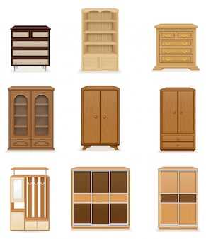 Reeks van de realistische kast van de meubilairgarderobe en ladenkast vectorillustratie