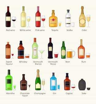 Reeks van de verschillende fles van de alcoholdrank en glazen vectorillustratie.