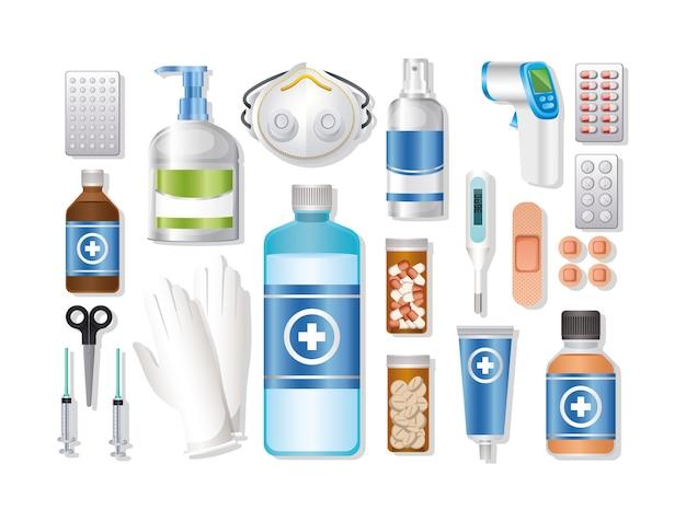 Reeks van eerste aid-pictogram op witte illustratie
