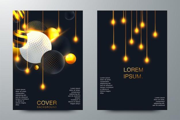 Reeks van elegante brochure, kaart, achtergrond, dekking