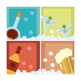 Reeks van grafisch de illustratie grafisch ontwerp van de drankeninzameling