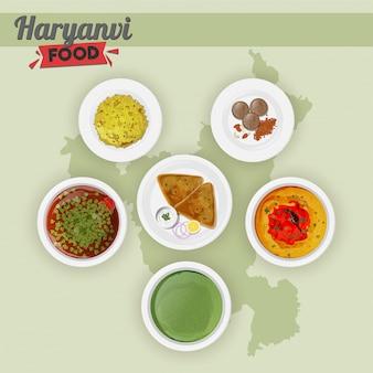Reeks van haryanvi-voedsel op de achtergrond van de staatskaart.