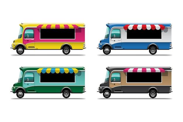 Reeks van het straatvoedsel van de voedselvrachtwagen en het vervoer van de fastfoodlevering dat op witte illustratie wordt geïsoleerd als achtergrond