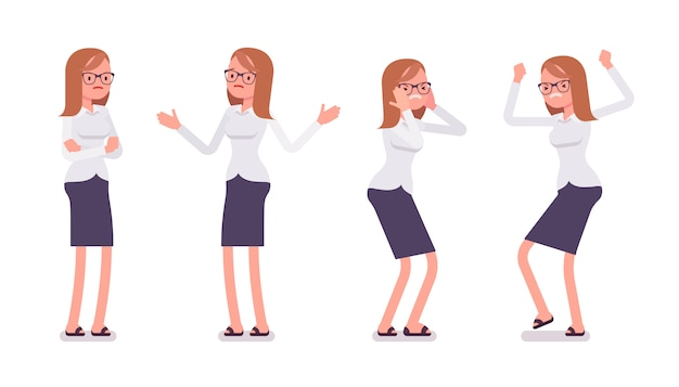 Reeks van jonge vrouwelijke bediende die negatieve emoties vooraanzicht tonen