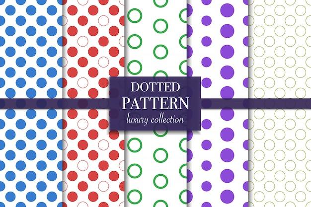 Reeks van kleurrijk gestippeld patroon. polka dot-stijl.