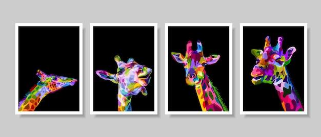 Reeks van kleurrijk girafhoofd op pop-art.