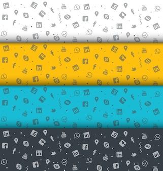 Reeks van kleurrijke sociale media doodle textuur ontwerp