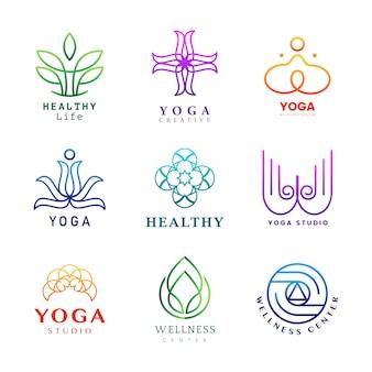 Reeks van kleurrijke yoga logo vector