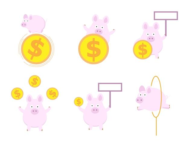 Reeks van leuk varken met vlakke het ontwerp vectorillustratie van het geldmuntstuk