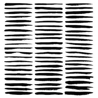 Reeks van penseelstreek, zwarte inkt grunge penseelstreken.