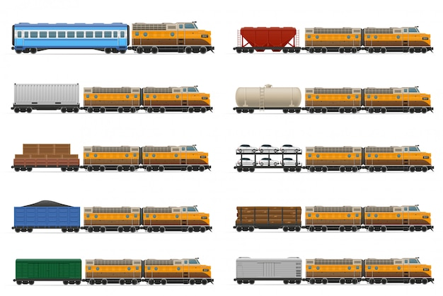 Reeks van realistische spoorwegtrein met locomotief en wagens vectorillustratie