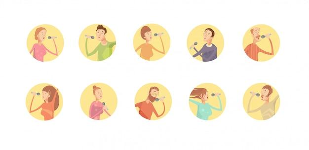 Reeks van tien ronde geïsoleerde pictogrammen van de karaokepartij