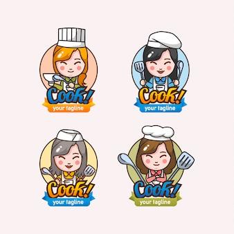 Reeks van vier vrouwen cheff van het mascottekarakter met het koken van hulpmiddelen en cheff hoedenillustratie