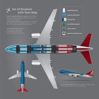 Reeks van vliegtuig die met zetelkaart geïsoleerde vectorillustratie landen