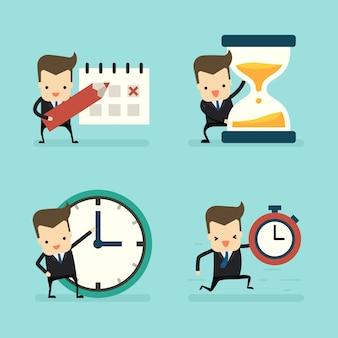 Reeks van zakenman op tijd en klokconcept
