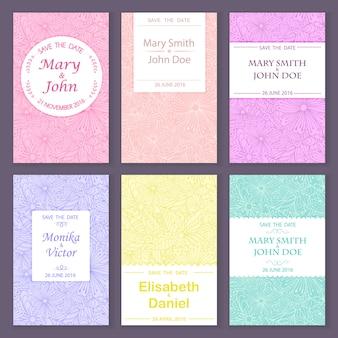 Reeks vector de kaartmalplaatjes van de groetuitnodiging voor sparen de datum, huwelijk, verjaardag