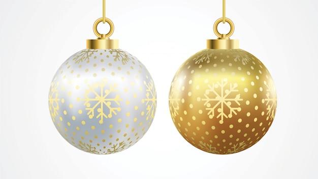 Reeks vector gouden en zilveren kerstmisballen met ornamenten