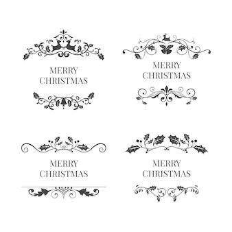 Reeks vectoren van het het kentekenontwerp van kerstmis