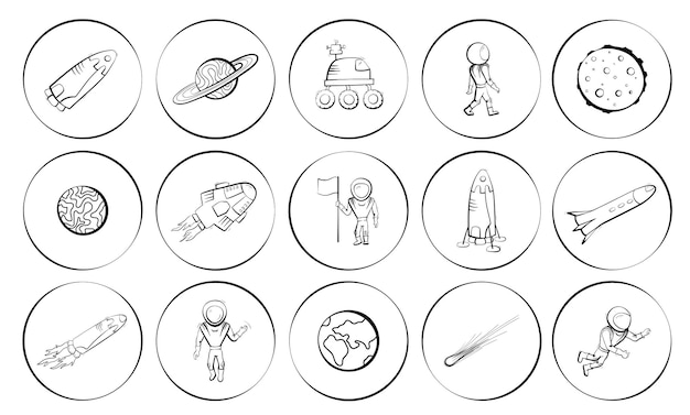 Reeks vectorillustraties van ruimtevoorwerpen. astronaut, komeet, shuttle, schip en raketvector