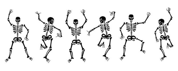 Reeks vectorillustraties van zwarte grafische skeletten die energiek dansen en plezier hebben