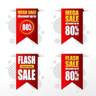 Reeks verkoop korting banner tags