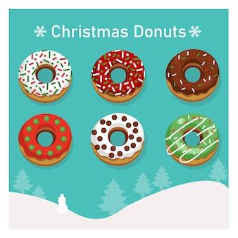 Reeks verscheidenheid kleurrijke donuts in kerstmisthema.