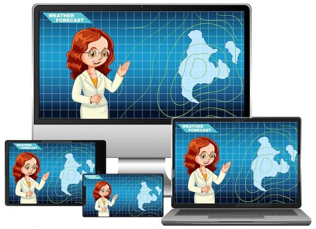 Reeks verschillende elektronische gadgets met anchorman die weersvoorspelling op het geïsoleerde scherm rapporteert