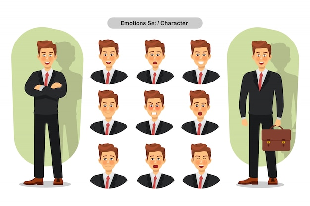 Reeks verschillende gezichtsuitdrukkingen bedrijfsmensen. man emoji karakter
