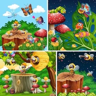 Reeks verschillende insecten die op de tuinachtergrond leven