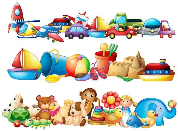 Reeks verschillende soorten speelgoed