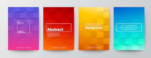 Reeks vierkante dekking als achtergrond op kleurrijke rode, purpere, gele, blauwe gradiëntkleur